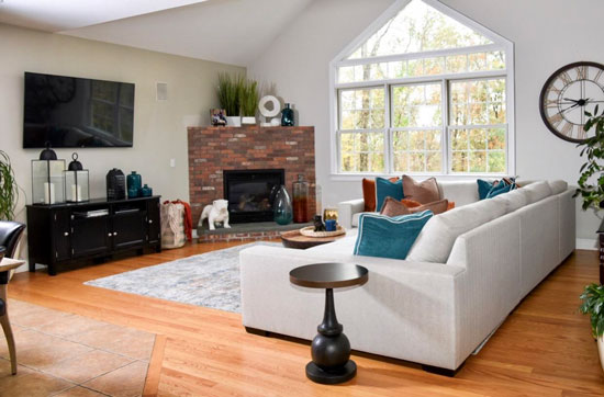 Updated Open Concept Family Room - Details Full Service Interiors - Interior Decorating in Massachusetts