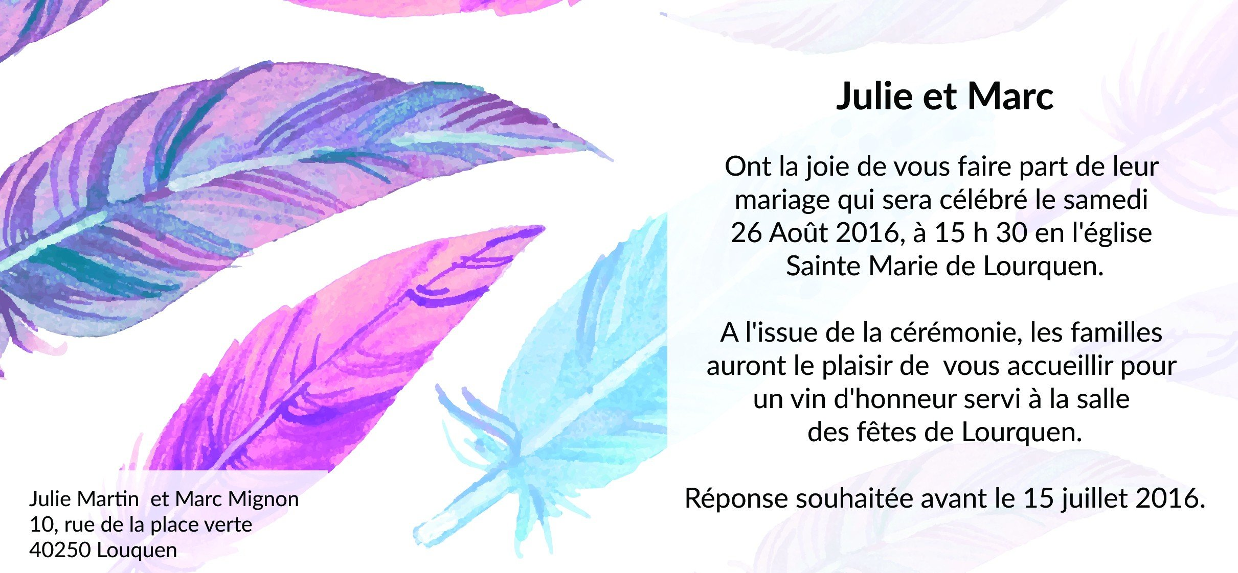 invitation mariage plume pas cher