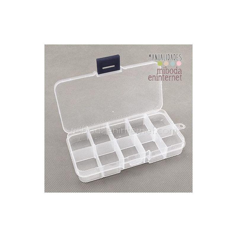 Caja rectangular plastico transparente 10 espacios movibles