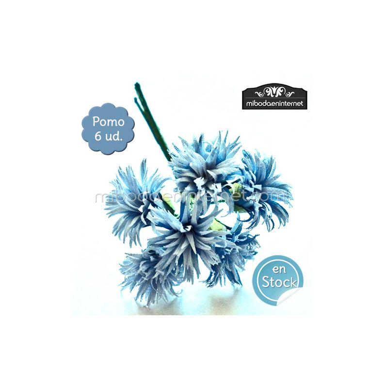 Flor Aster azul hebritas pomo 6 ud