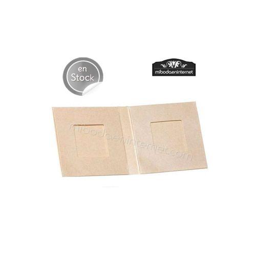 Caja 2 napolitanas forma libro metalizada beige 7x7x1