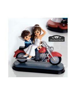 Figura Pastel Novios Motocicleta