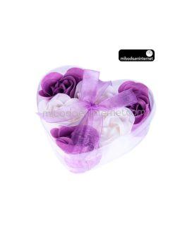 Caja corazón 6 Rosas de jabón