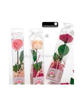 Flor de jabón Rosa con tiras de jabón y caja stda.