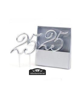 Figura para pastel 25 Aniversario plata