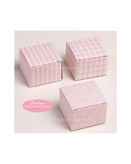 Pack 24 Cajas Cubo Rosa estampada
