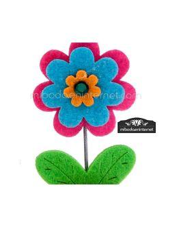 Pinza Portanotas Fieltro Flower