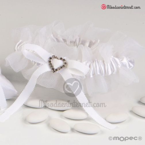 Liga Novia Puntilla Blanca broche strass corazón