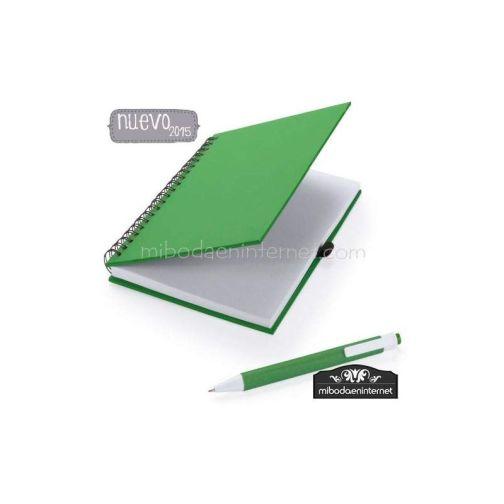 Libreta con Bolígrafo Reciclado Color 15x18cm