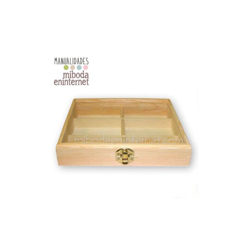 Caja madera 6 espacios manualidades