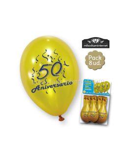 Globos 50 aniversario oro pack 8 ud