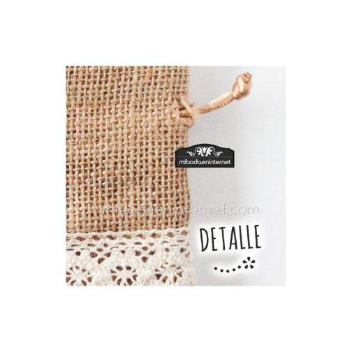 Bolsita Rústica Arpillera y tira bordada algodón 14x10