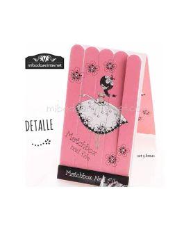 Set 5 limas de uñas Bailarina con bolsa y cordón