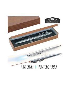 Boligrafo metal linterna y laser en caja madera