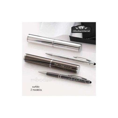 Boligrafo puntero tactil aluminio con estuche a juego