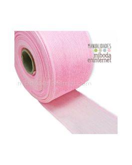 Cinta Yute fina 7 cms rosa con remate- metro