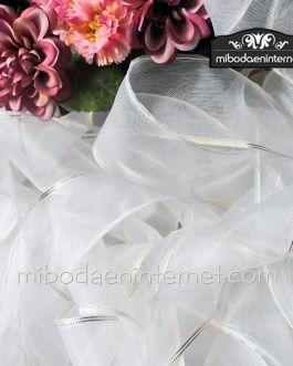 Cinta decorativa 5 cm organza blanca con ribete dorado