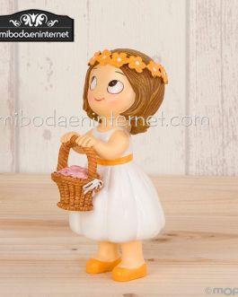 Figura pastel niña cesta pétalos Pop & Fun 11 cms.