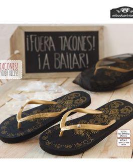 Sandalia Flip Flop Negra Oro c/bolsa