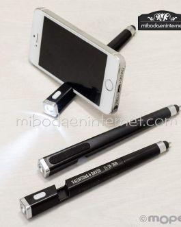 Bolígrafo linterna puntero borrahuellas y soporte móvil