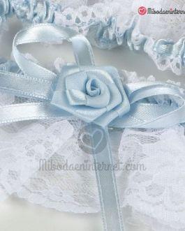 Liga punta blanca con raso azul cielo