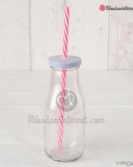 Botellita cristal tapa blanca con caña roja
