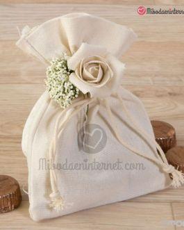 Bolsa Algodón con Bouquet Flores y 4 bombones