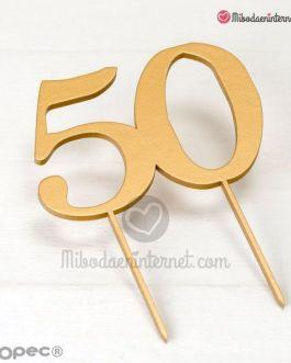 Caketopper 50 aniversario madera color oro