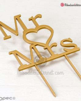 Caketopper Mr & Mrs madera