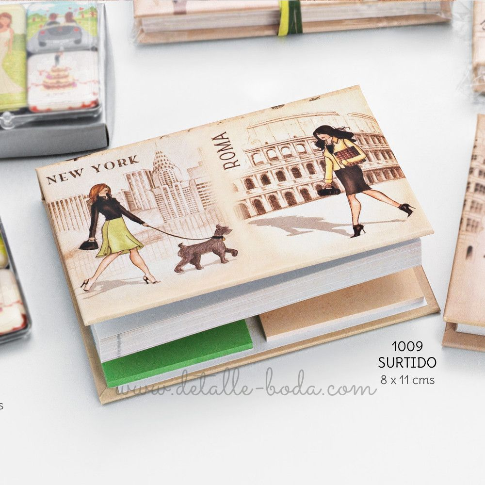 Bloc Notas y Post it Ciudades Vintage