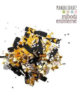 Confetti Champan y copas oro y negro