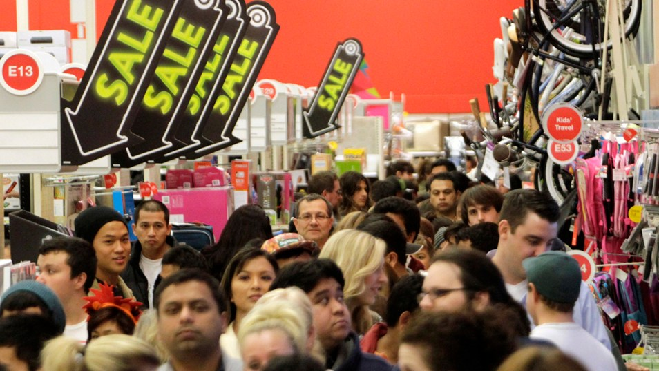 A crowd of shoppers browse at Target on Black Friday. (credit Today)