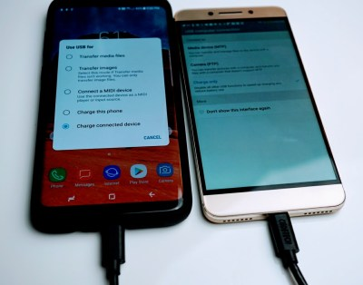 The Samsung Galaxy S8 can be used as a battery pack to charge smartphones