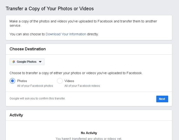 how to export Facebook photos and videos to google photos