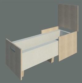 """""""flexi-tub"""" ist eine textile, ein- und ausfahrbare Badewanne. """"flexi-tub"""" ist eine Möbel-Badewanne, die entweder zusammengeschoben als Möbel oder auseinander gezogen als Badewanne dient. Im zusammengeschobenen Zustand ist es im Badezimmer eine Sitzmöglichkeit, die gleichzeitig als Handtuchhalter dient und die Unterkonstruktion für die Badewanne gut verdeckt. Zum Baden muss nur der Deckel geöffnet und die Badewanne heraus gezogen werden. In dem Badewannen-Möbel befindet sich ebenfalls der Wasserzu- und ablauf. Im ungenutzen Zustand ist """"flexi-tub"""" eine sehr platzsparende Badewanne."""