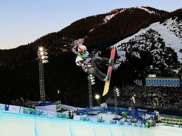 A snowboarder in action during the Women's Snowboard Halfpipe