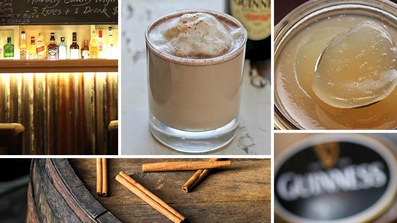 Guinness Punch Recipe with sea moss gel and cinnamon. This image shows a collage of shots related to Guinness Punch including a softly light bar with a dark but warm feel, a glass of Guinness Punch, a jar with sea moss gel in it that has a spoon scooping a portion out, a section of an oak barrel with cinnamon quills sitting on top of it, and a blurred out Guinness tap head logo at a bar