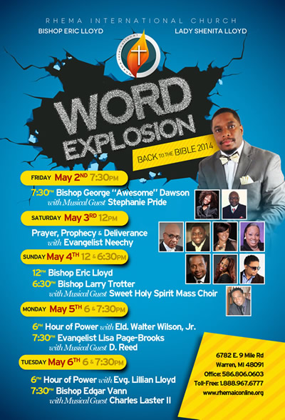 MAY 2-5: WORD EXPLOSION w/Bishops Eric Lloyd, Larry Trotter, Edgar Vann, Musical Guests & MORE @ Rhema Int'l Church