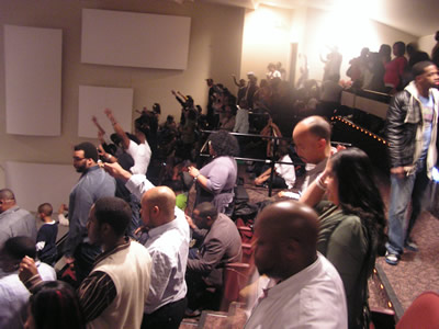 The upper balcony is rocking at the Harold Washington Cultural Center in Chicago, IL for Kierra Sheard's Live Recording for FREE