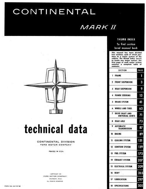 1956-57 Continental Mark II Manual in Paper Format