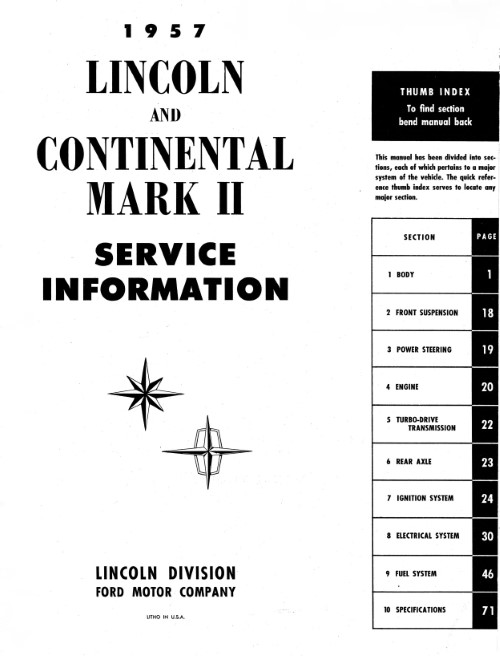 1956-57 Lincoln Maintenance Manual in Paper Format