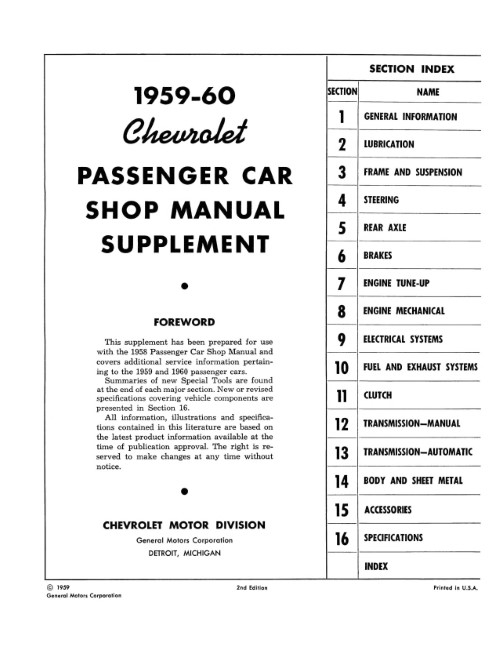 1959-1960 Chevy OEM Car Shop Manual Supplement in Paper