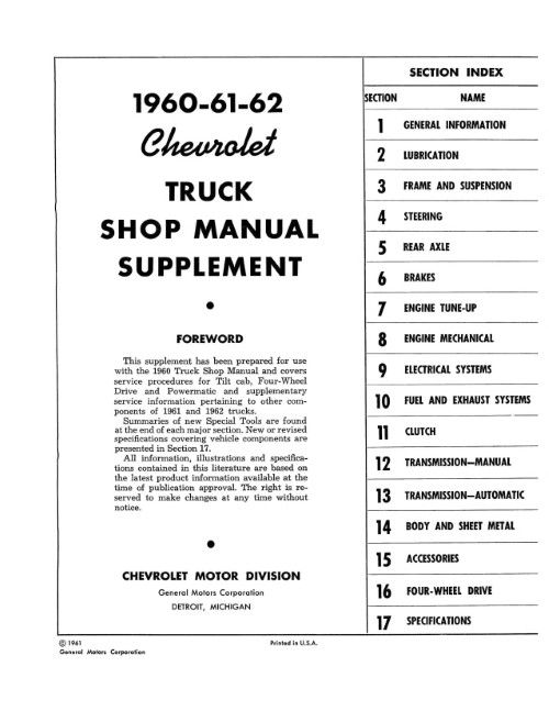 1960-61-62 Chevrolet Truck Shop Manual Supplement in Paper