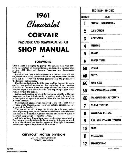 1961 Corvair / Corvair 95 OEM Shop Manual in Paper Format