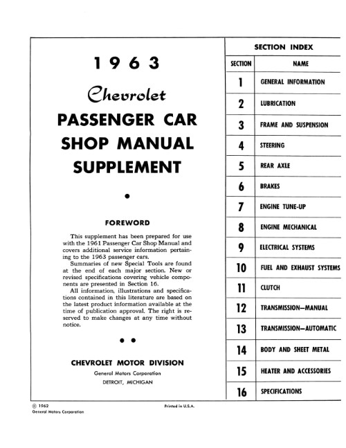 1963 Chevrolet Passenger Car Shop Manual Supplement in