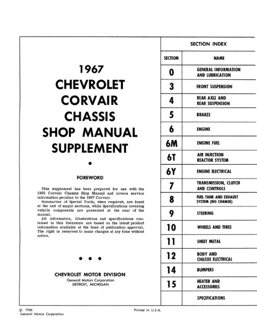 1966-1969 Chevy Corvair Shop Manual Supplements in Paper