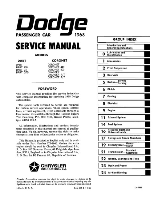1968 Dodge Charger Coronet Dart Repair Shop Manual