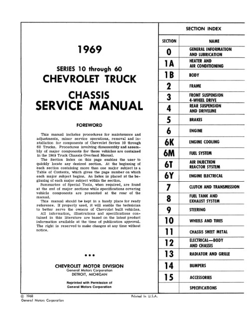 1969 Chevy Truck Chassis Service Manual in Paper Format