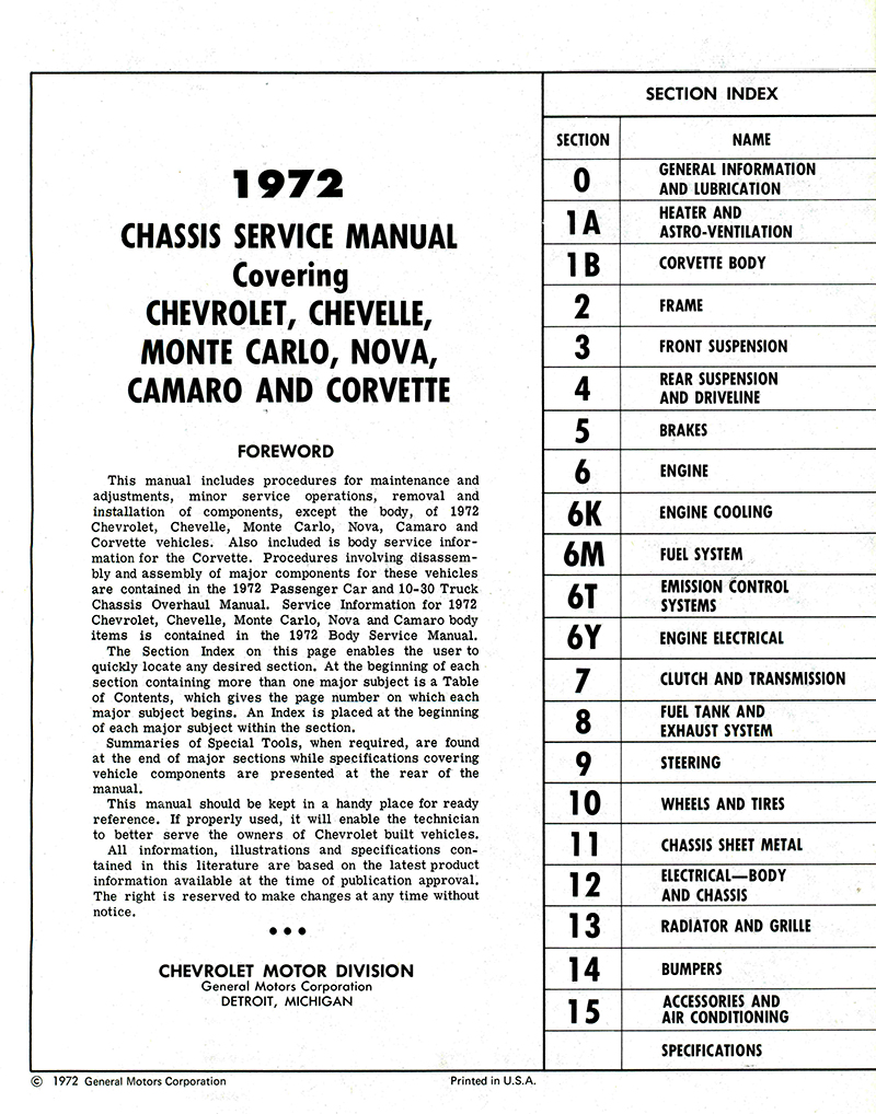 1972 Chevy Chassis Service Manual (Corvette, Camaro