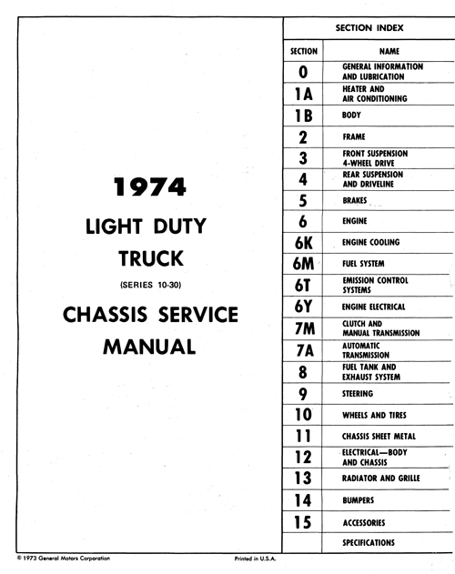 1974 Chevy Truck 10-30 OEM Shop Manual in Paper Format